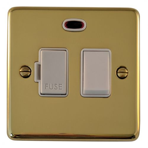 G&H CB27W Standard Plate Polished Brass 1 Gang Fused Spur 13A Switched & Neon